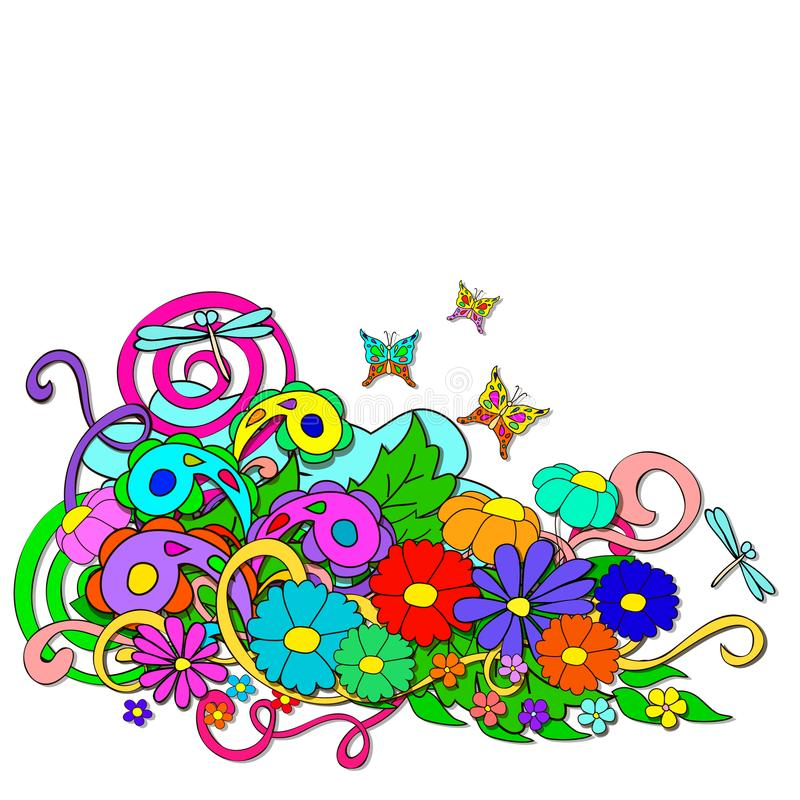 Griffonnages d'été avec des fleurs et le remous illustration de vecteur