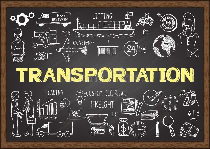 Griffonnages d'affaires au sujet de transport sur le tableau illustration stock