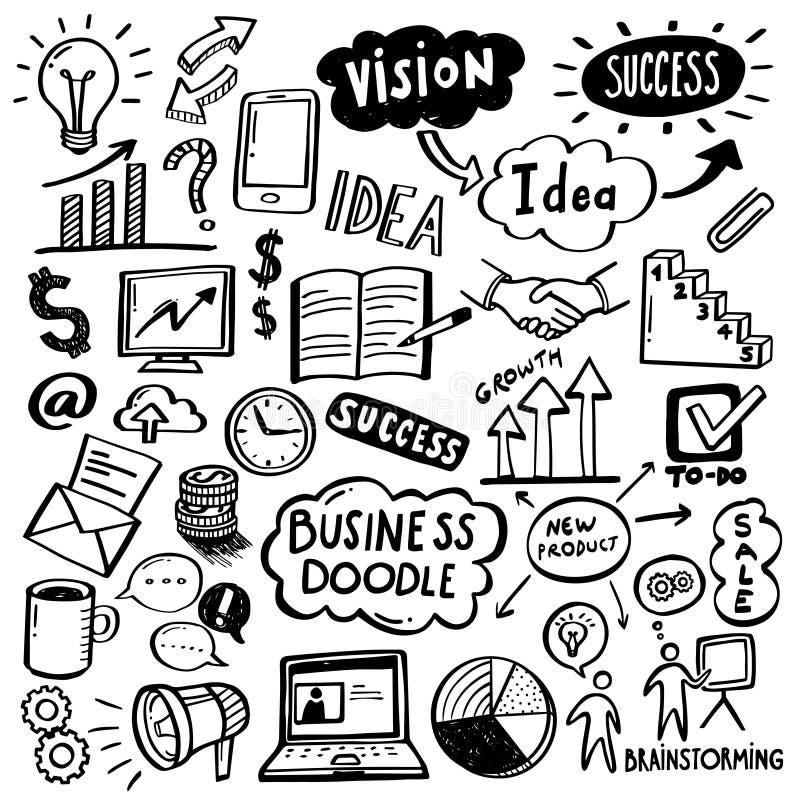 Griffonnages d'affaires - processus créatif illustration libre de droits