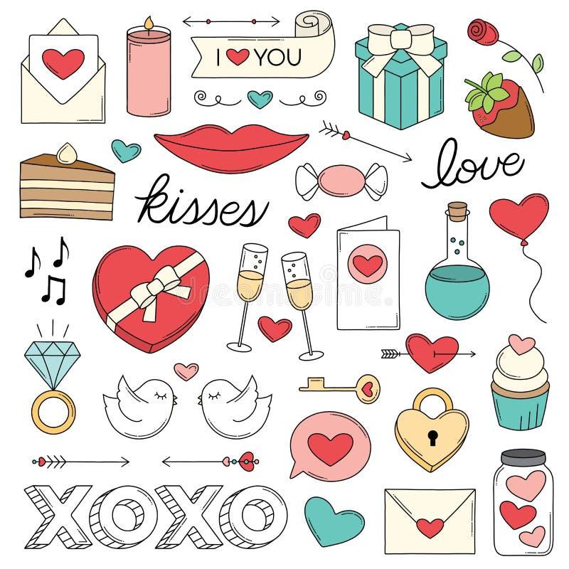 Griffonnages d'amour de jour du ` s de Valentine illustration de vecteur