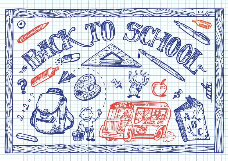 Griffonnages d'amusement d'école illustration libre de droits