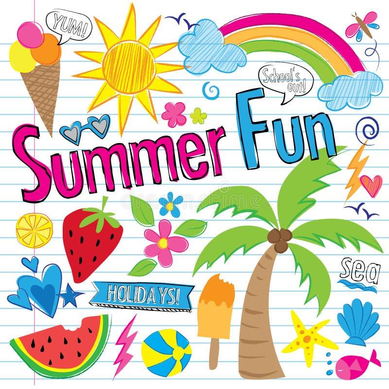 Griffonnages d'amusement d'été (vecteur) illustration stock