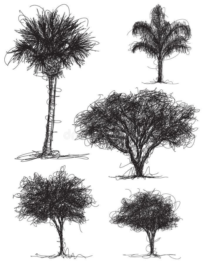 Griffonnages d'arbre illustration libre de droits