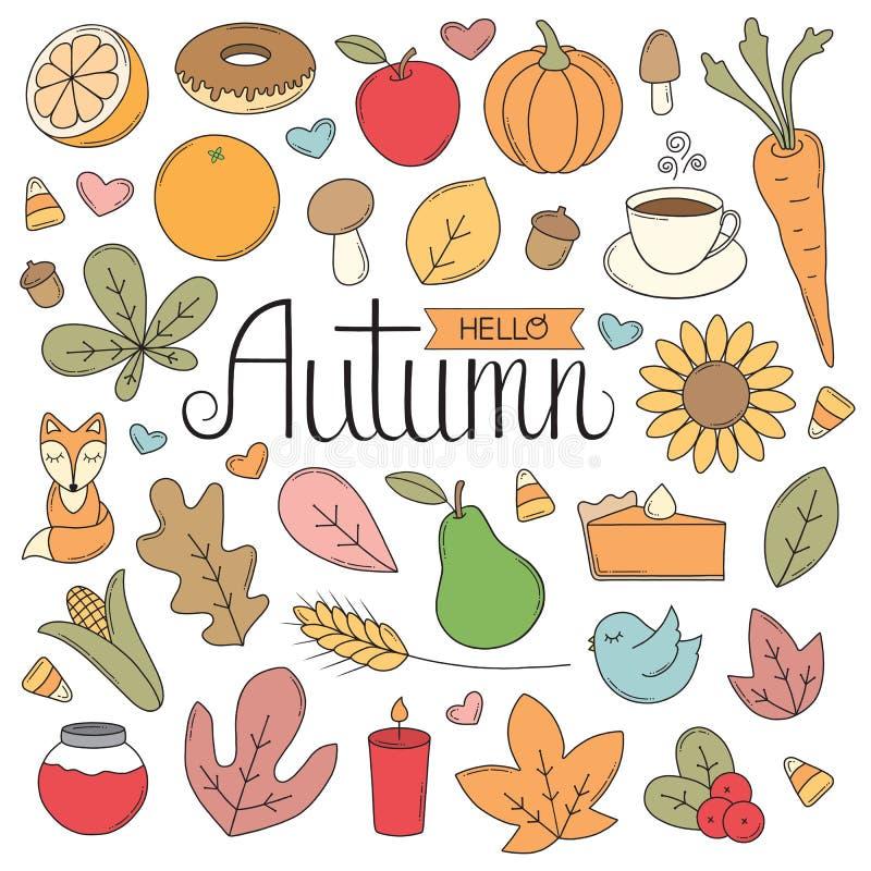 Griffonnages d'automne illustration de vecteur