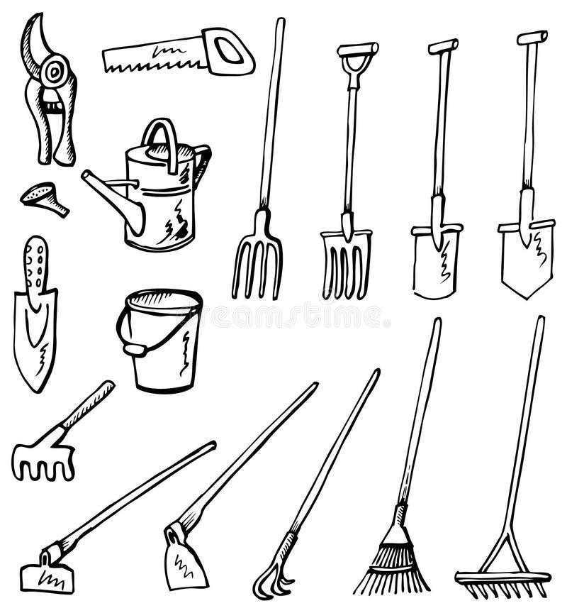 Griffonnages d'outils de jardinage illustration de vecteur