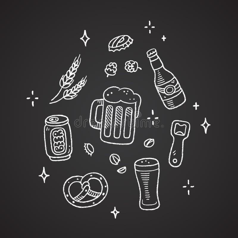 Griffonnages de bière de craie illustration stock
