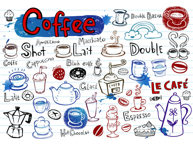 Griffonnages de café illustration stock