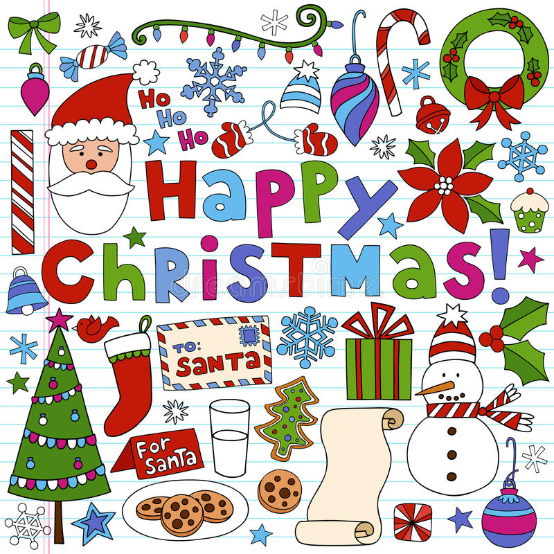 Griffonnages de cahier de Noël heureux illustration libre de droits