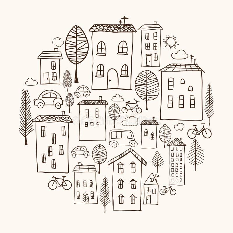 Griffonnages de Chambres en cercle illustration de vecteur