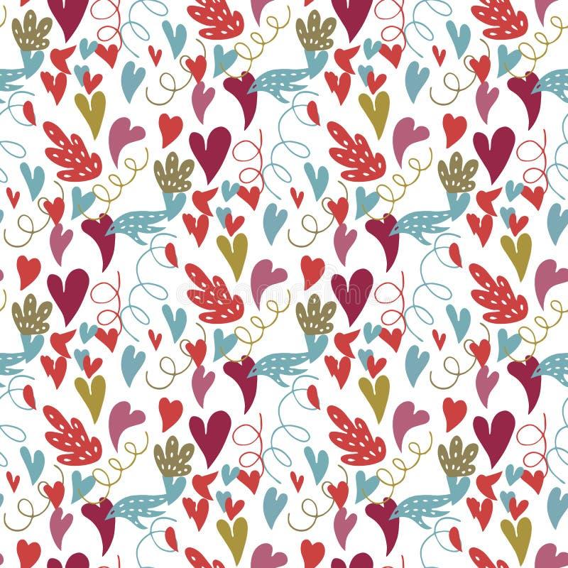Griffonnages de coeur Modèle sans couture de vecteur avec le coeur, feuilles, spirales illustration de vecteur
