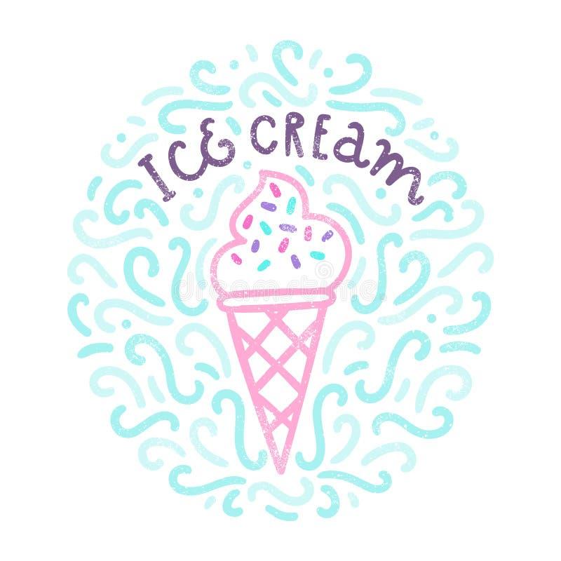 Griffonnages de crème glacée  illustration de vecteur