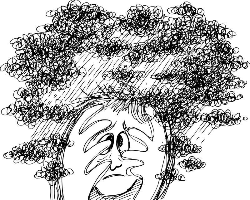Griffonnages de croquis : effort et confusion illustration de vecteur