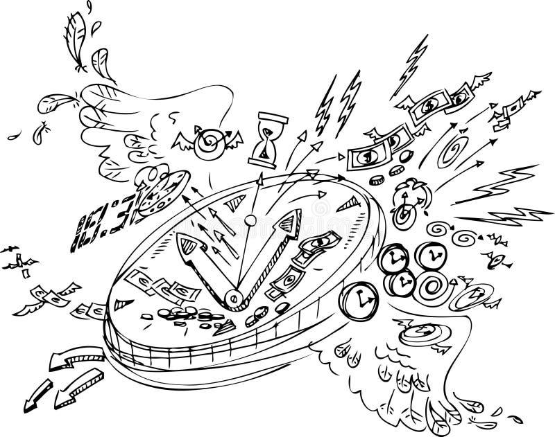 Griffonnages de croquis : Le temps vole illustration libre de droits