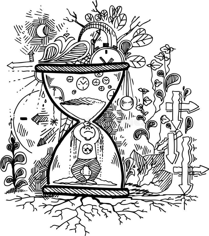Griffonnages de croquis : TEMPS illustration de vecteur