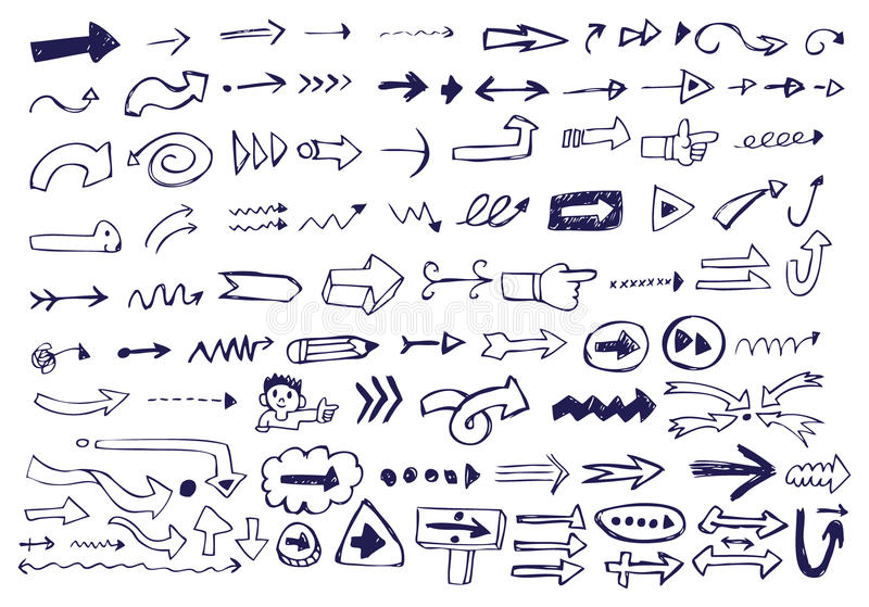 Griffonnages de flèche illustration de vecteur