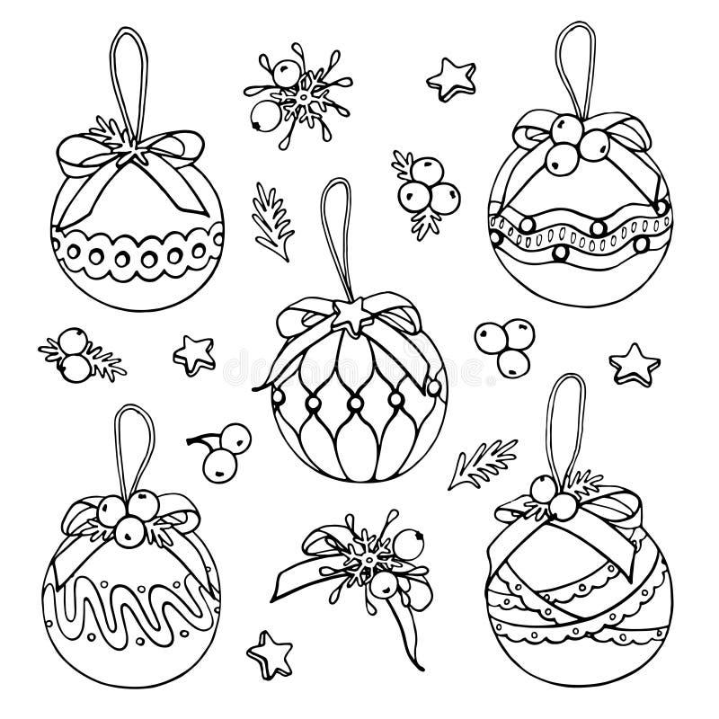 Griffonnages de jouets d'arbre de Noël de vecteur sur le fond blanc illustration de vecteur