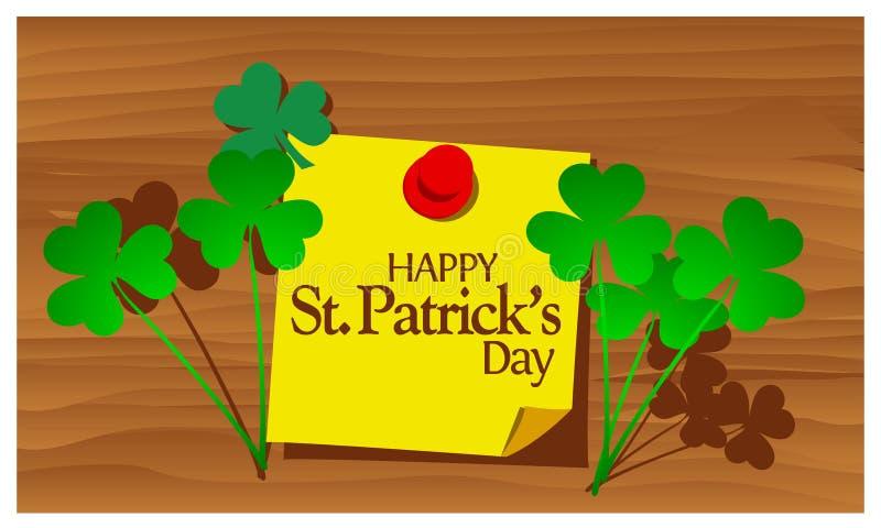 Griffonnages de joyeux anniversaire dirigez le vecteur heureux de jour du ` s de St Patrick de mot de papier d'illustratorReminde illustration stock