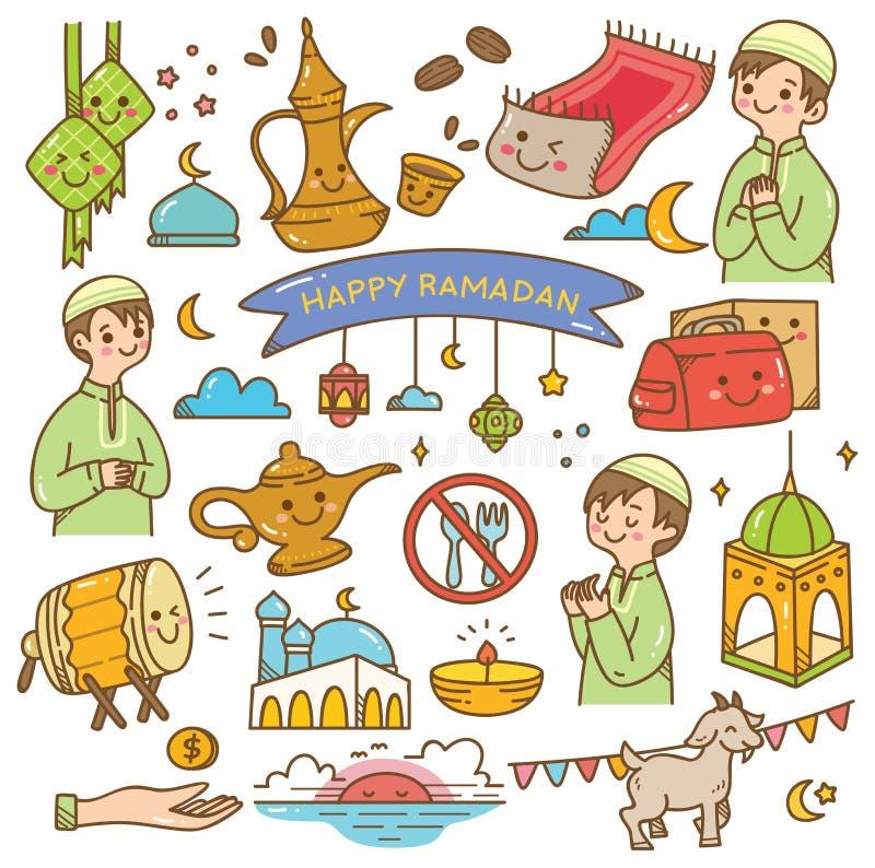 Griffonnages de kawaii de Ramadan illustration libre de droits