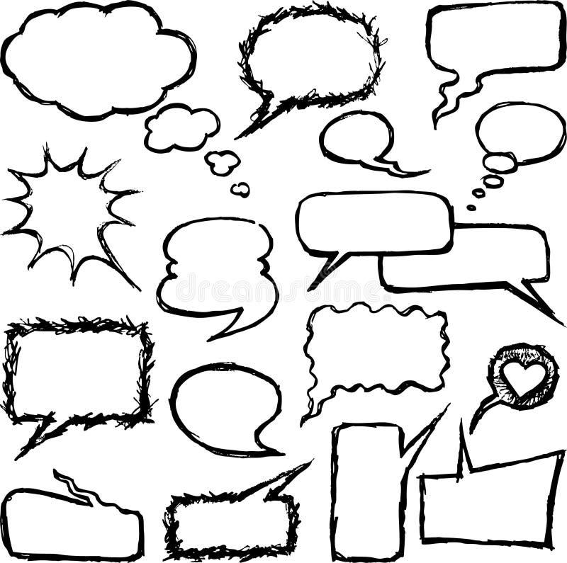 Griffonnages de la parole illustration de vecteur