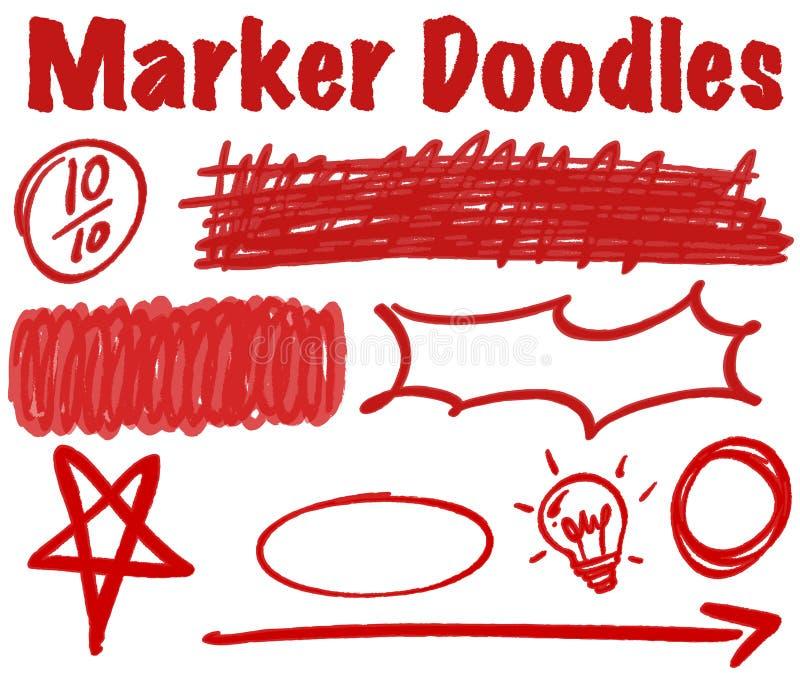 Griffonnages de marqueur en encre rouge illustration libre de droits