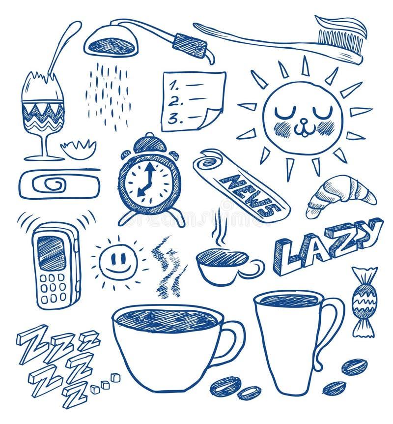 Griffonnages de matin illustration libre de droits