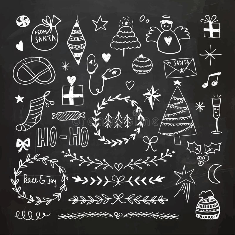 Griffonnages de Noël de tableau réglés illustration stock