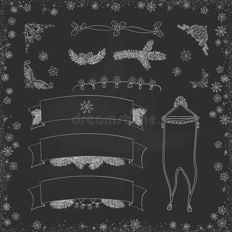 Griffonnages de Noël de vintage de vecteur Bande dessinée tirée par la main saisonnière sur le panneau sale de craie noire illustration libre de droits