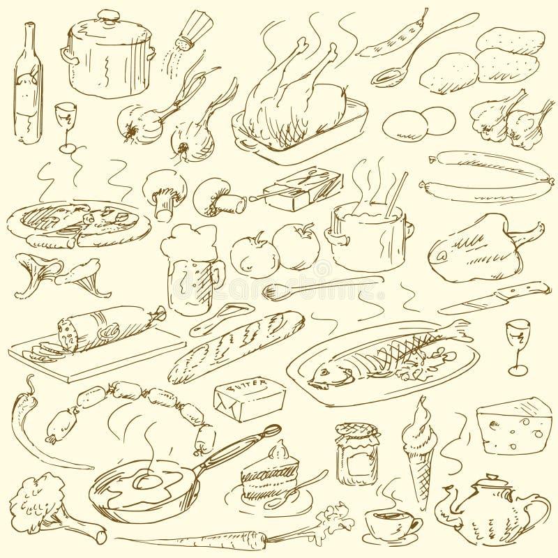 Griffonnages de nourriture illustration de vecteur