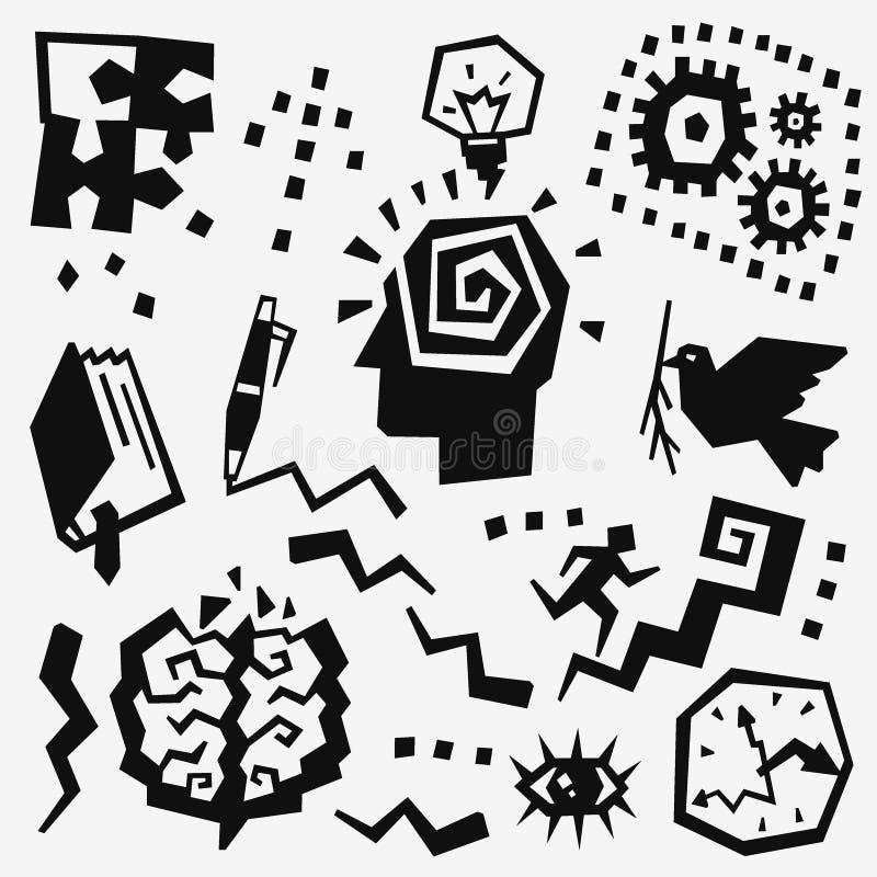 Griffonnages de pensée réglés illustration de vecteur