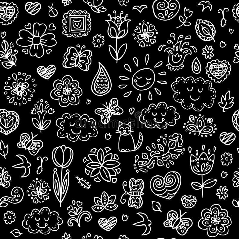 Griffonnages de ressort réglés Remettez les fleurs d'aspiration, le soleil, nuages, papillons illustration libre de droits