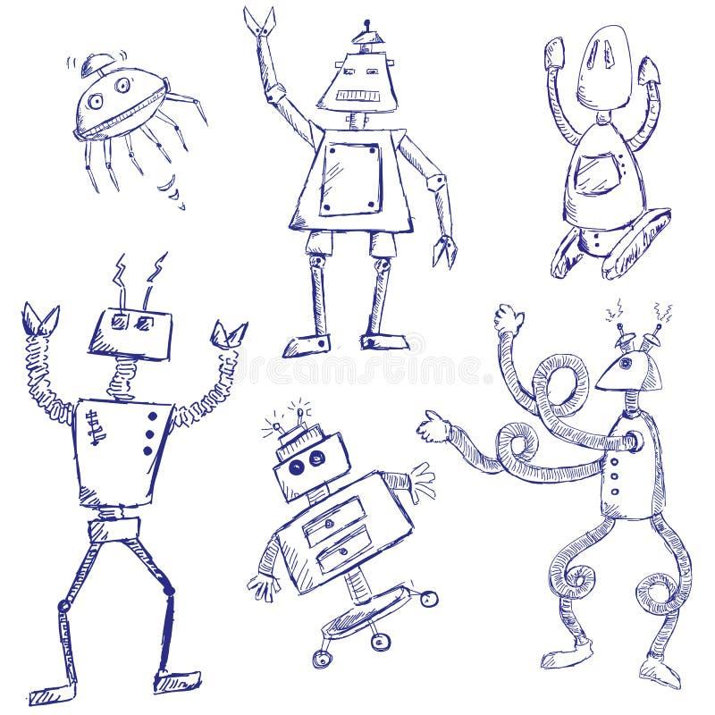 Griffonnages de robot illustration libre de droits