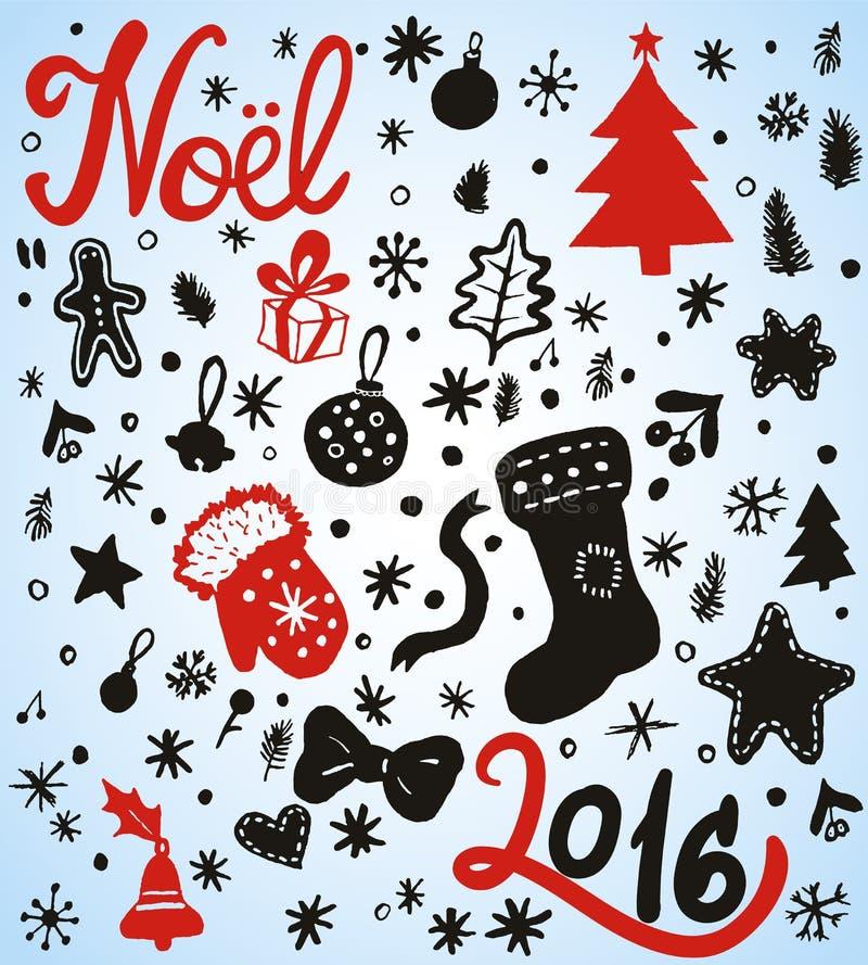 Griffonnages de vacances de Noël et d'hiver illustration de vecteur