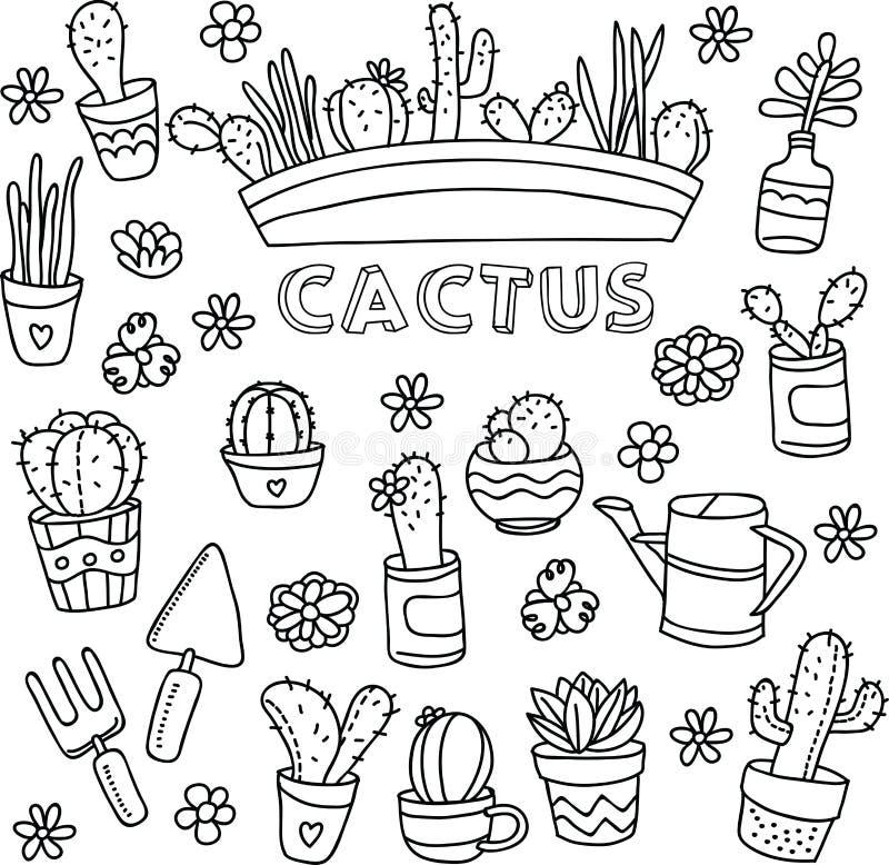 Griffonnages de vecteur de cactus illustration de vecteur