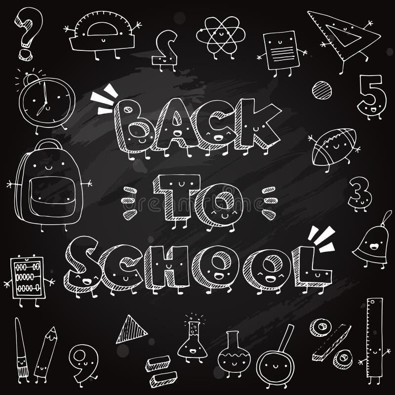 Griffonnages drôles d'école sur le fond de tableau noir De nouveau à l'illustration de vecteur d'école illustration stock
