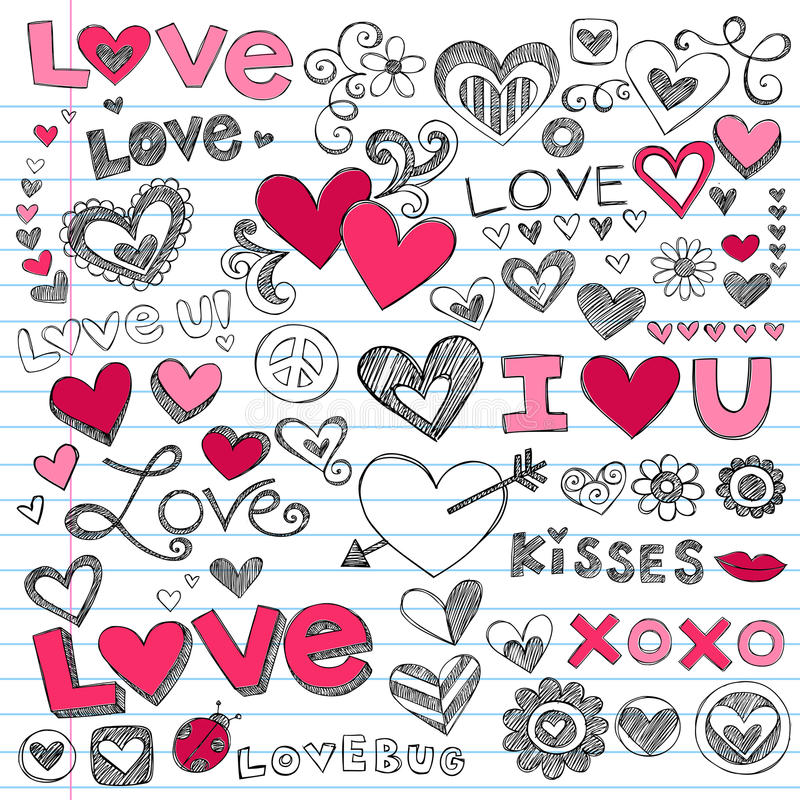 Griffonnages du jour de Valentine de coeurs d'amour illustration de vecteur