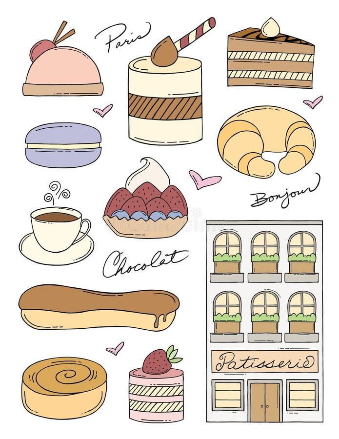 Griffonnages français de boulangerie illustration stock