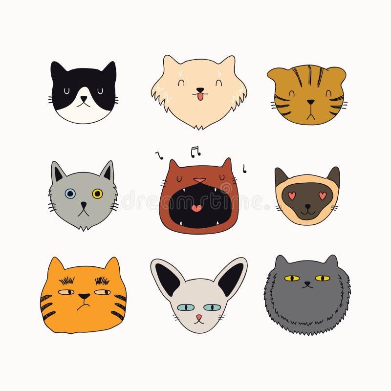 Griffonnages mignons de chat réglés illustration libre de droits