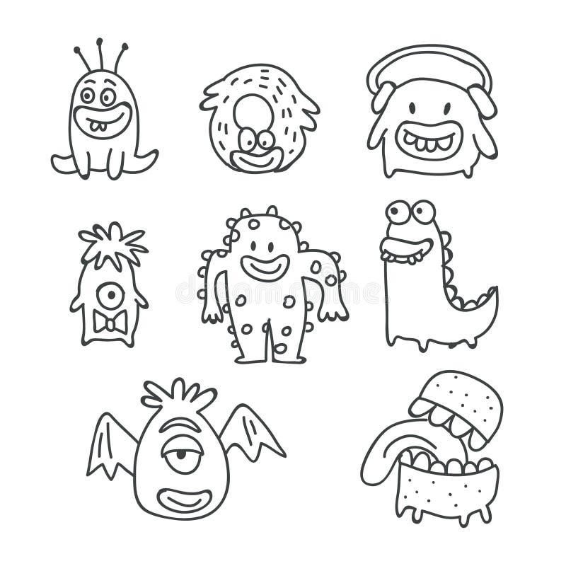 Griffonnages mignons de vecteur de bande dessinée de monstres d'isolement illustration de vecteur