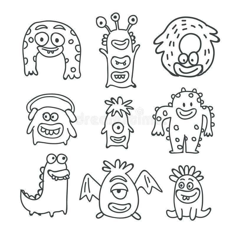 Griffonnages mignons de vecteur de bande dessinée de monstres d'isolement illustration stock