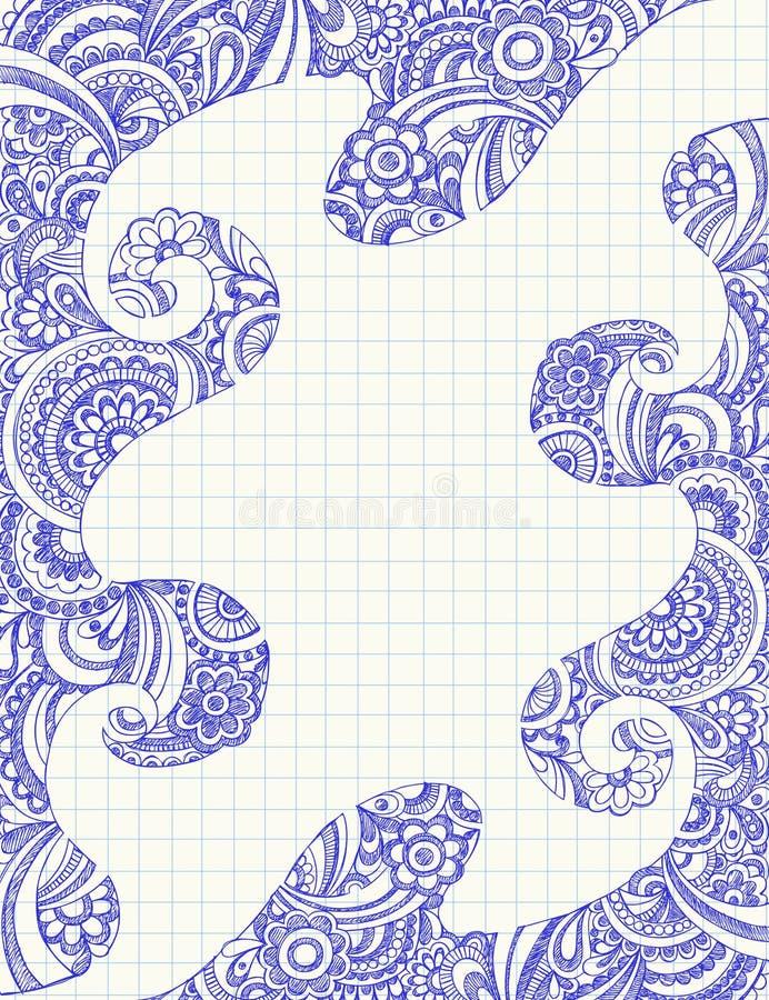 Griffonnages peu précis abstraits de cahier de Paisley illustration libre de droits