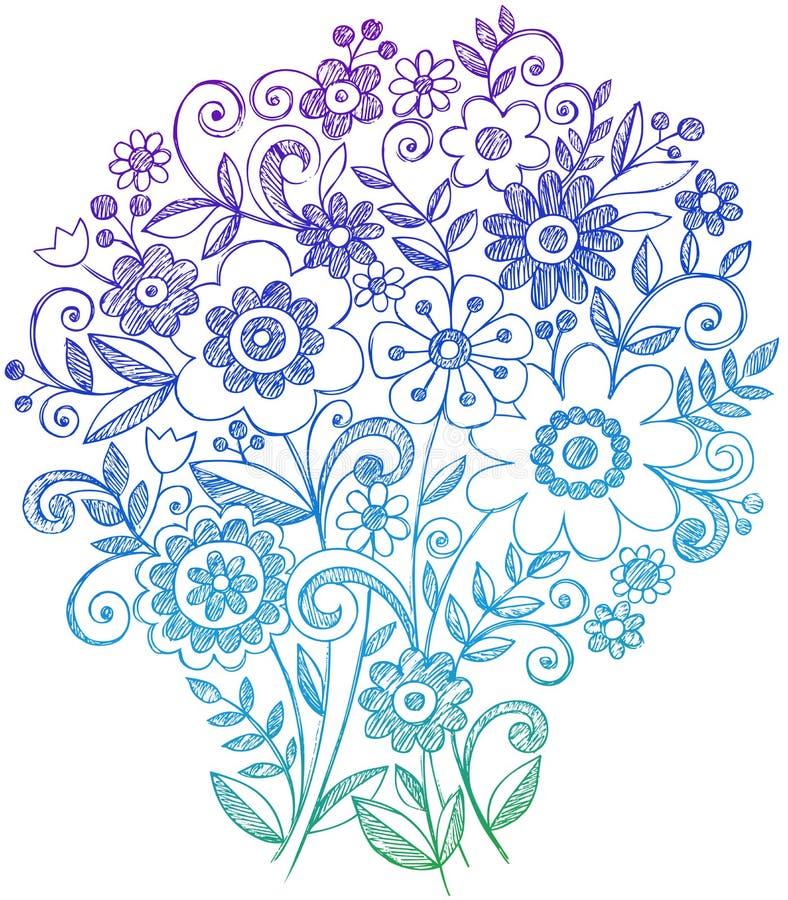 Griffonnages peu précis de cahier de bouquet de fleur illustration libre de droits