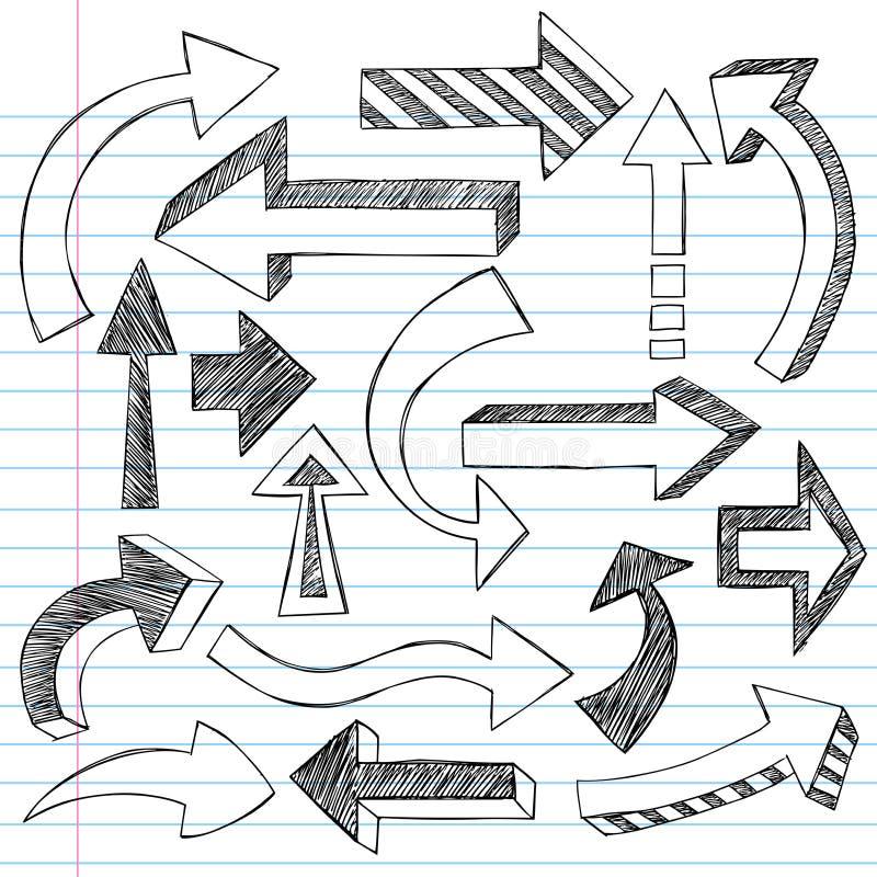 Griffonnages peu précis de cahier de flèches illustration libre de droits