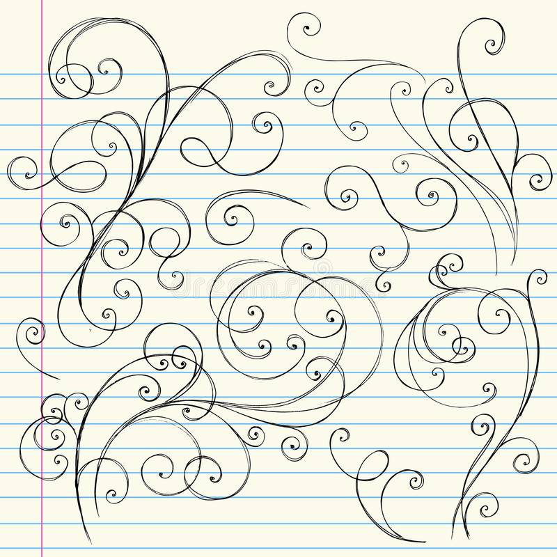 Griffonnages peu précis de cahier de remous illustration de vecteur