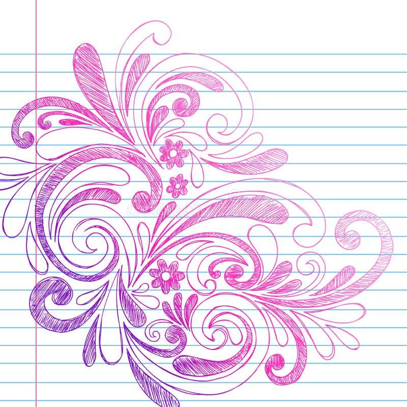 Griffonnages peu précis de cahier sur le vecteur de papier rayé illustration stock