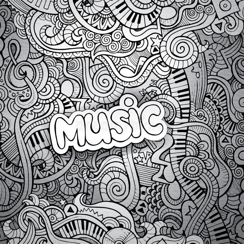 Griffonnages peu précis de carnet de musique illustration stock