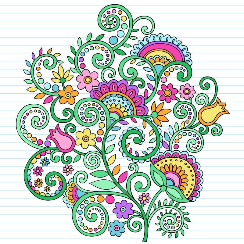 Griffonnages psychédéliques de cahier de fleurs illustration libre de droits