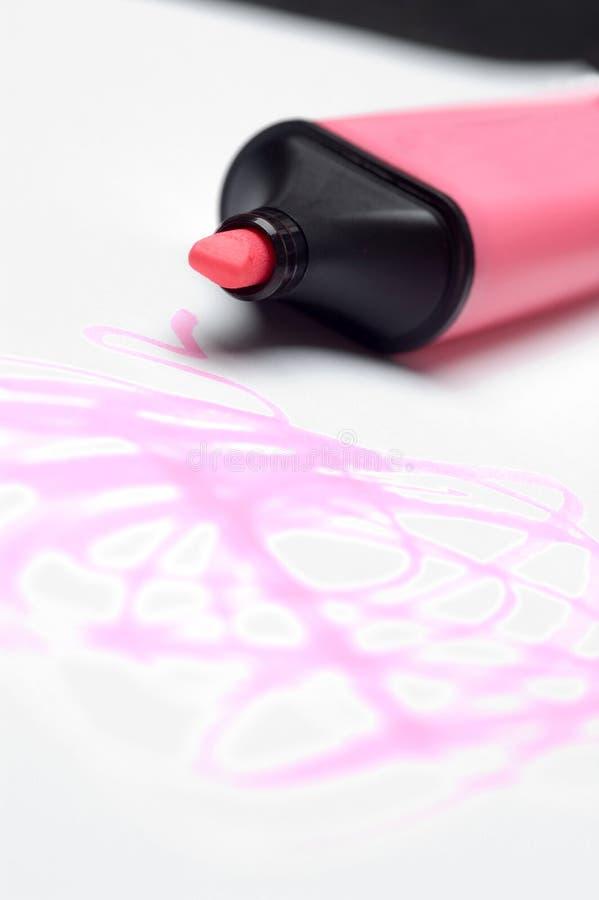 Griffonnages roses de barre de mise en valeur images libres de droits