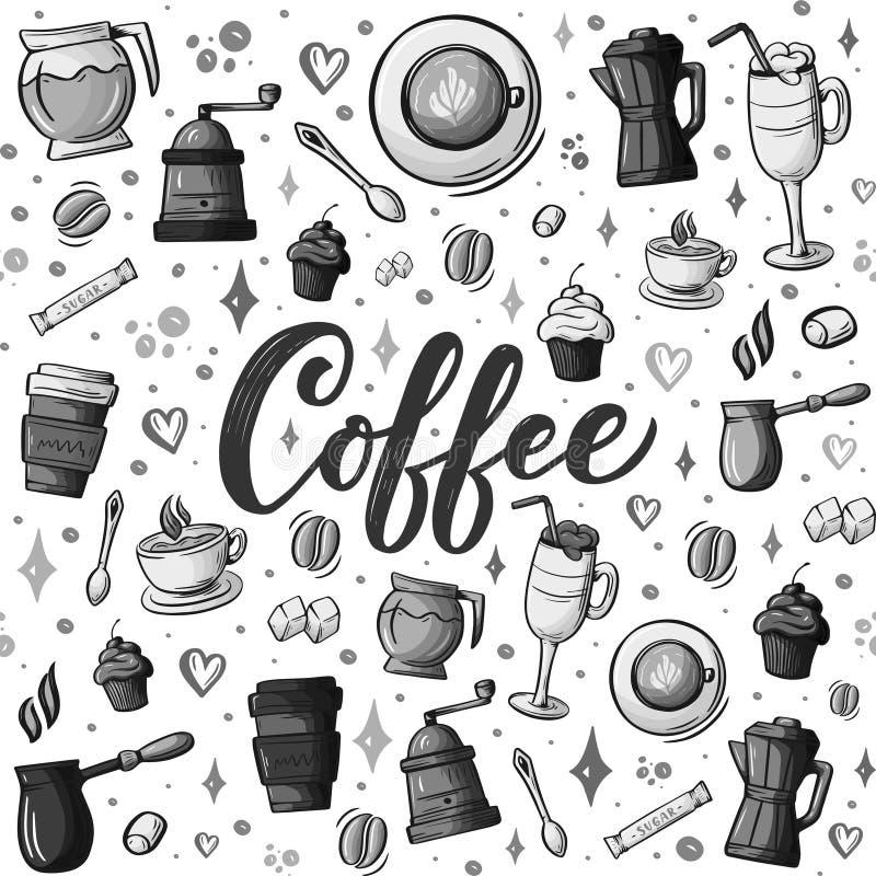 Griffonnages tirés par la main de bande dessinée au sujet de café, modèle sans couture de thème de café Détaillé coloré, avec un  illustration libre de droits