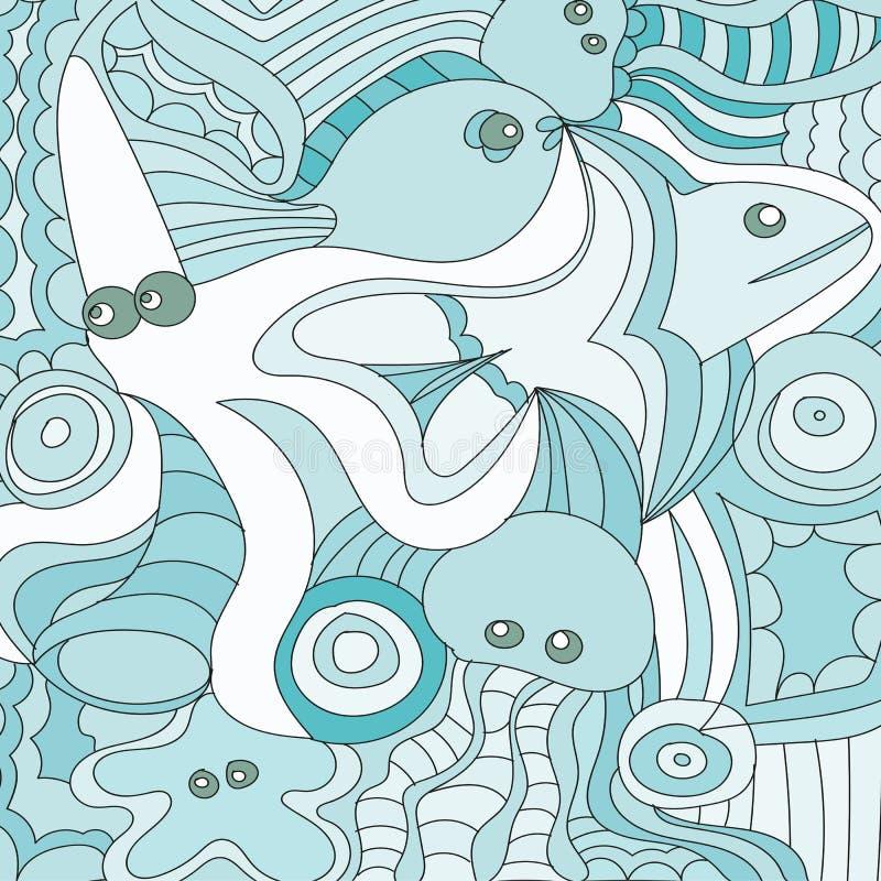 Griffonnages tirés par la main de bande dessinée nautiques, illustration marine Fond détaillé illustration stock