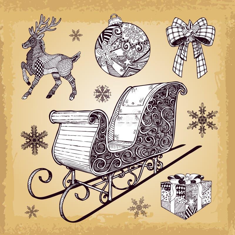 Griffonnages tirés par la main de décoration de dextérité de Noël illustration de vecteur